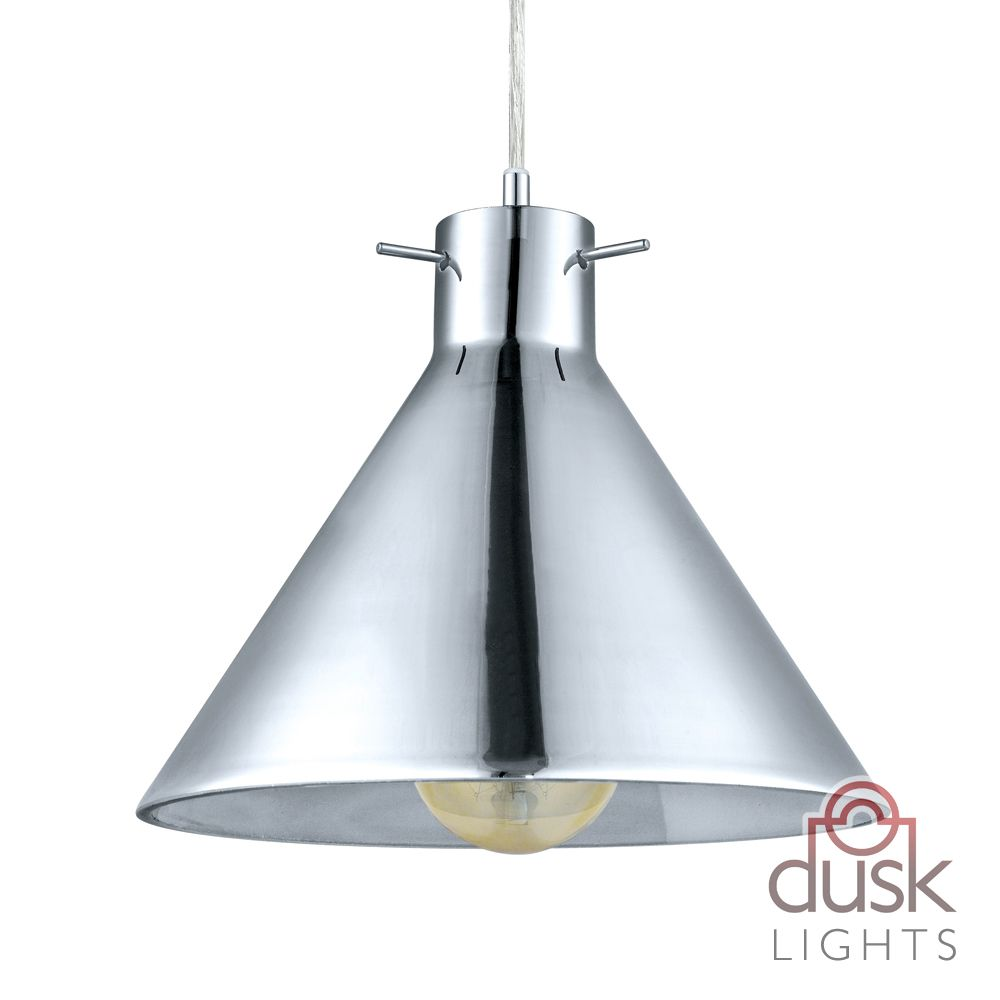 Eglo Vintage Smoked Glass and Chrome Cone Pendant - 49273 | Good ...