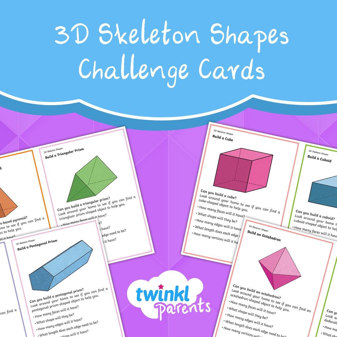 3d Skeleton Shapes Challenge Cards In