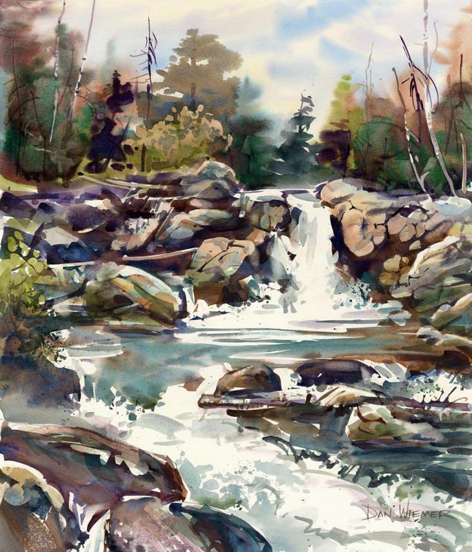 Beautiful Waterfall By Dan Wiemer Jackie Must Have Made It Home Watercolor Landscape Paintings Watercolor Art Landscape Watercolor Pictures