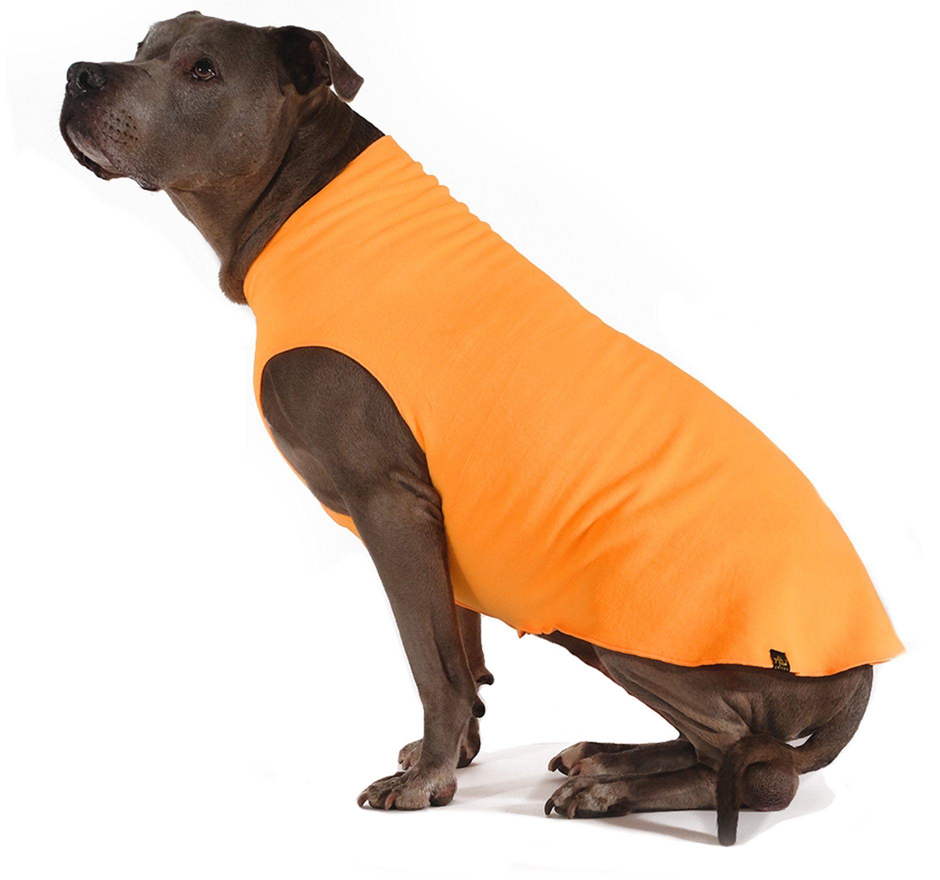 Gold paw stretch fleece dog coat blaze orange fleece