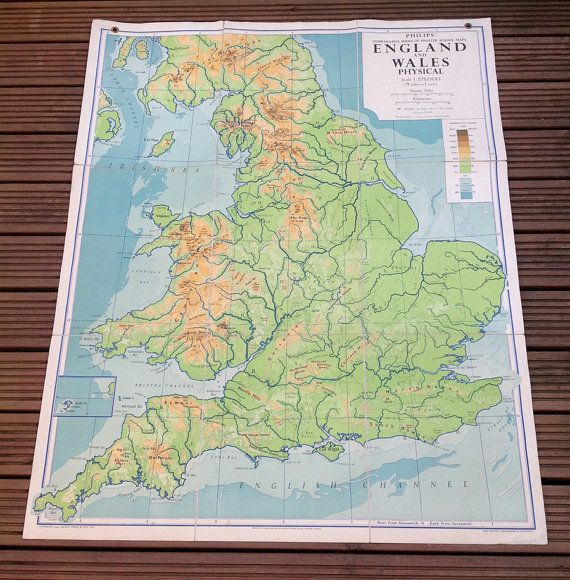 England and Wales Physical Map Philips parative Series of