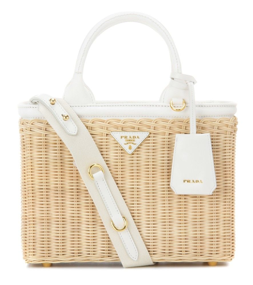 c7ed13650608 Prada - Wicker and canvas bag - Bring the rustic