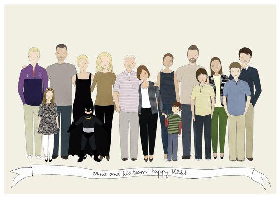 Family Portrait Custom Family Illustration Large Family Portrait