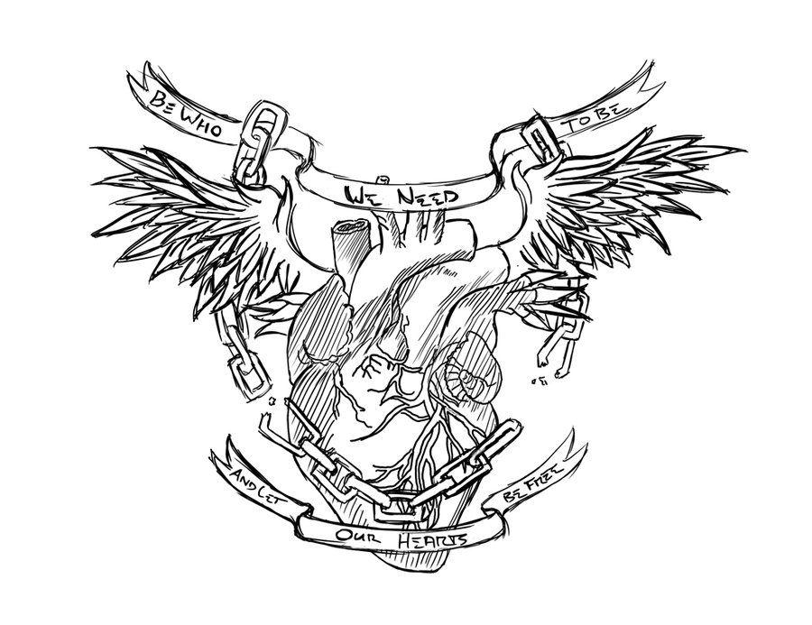 amazing-gothic-winged-heart-tattoo-designjpg (900×693) Tattooed - tattoo template