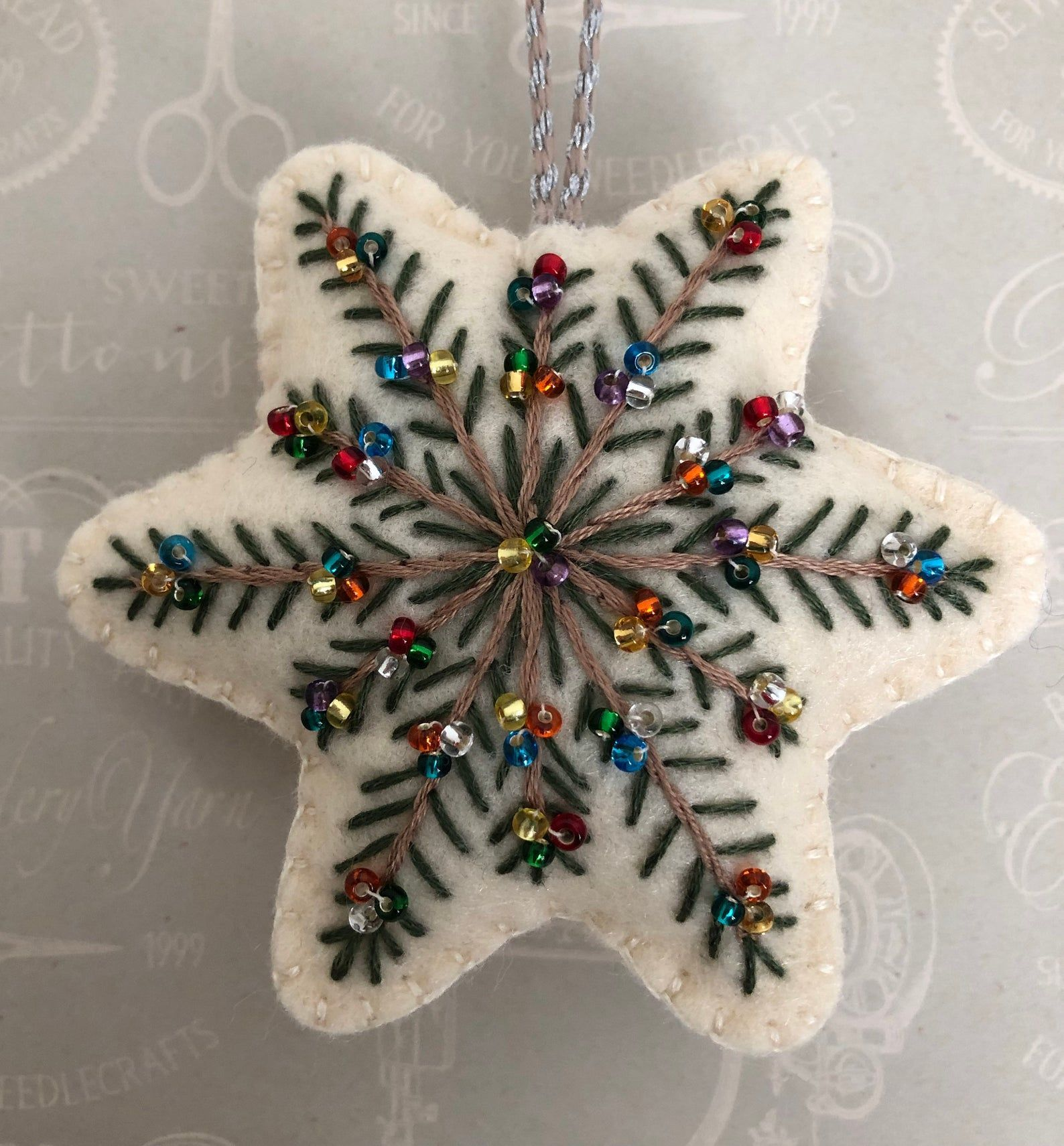 Handmade Felt Star Christmas Ornament Embroidered With Individually Hand Sewn Bead Felt Crafts Christmas Diy Felt Christmas Ornaments Felt Christmas Ornaments