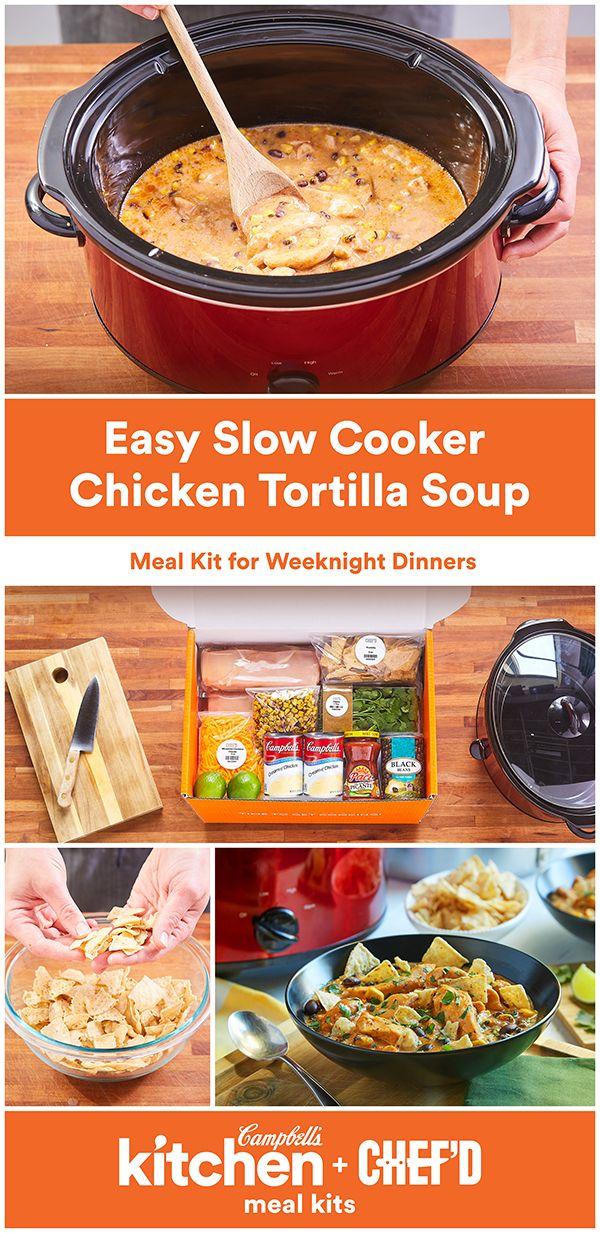 Crockpot Chicken Campbells Soup Recipes : crockpot, chicken, campbells, recipes, Cooker, Chicken, Tortilla, Campbell, Company, Recipe, Crockpot, Recipes, Easy,, Recipes,
