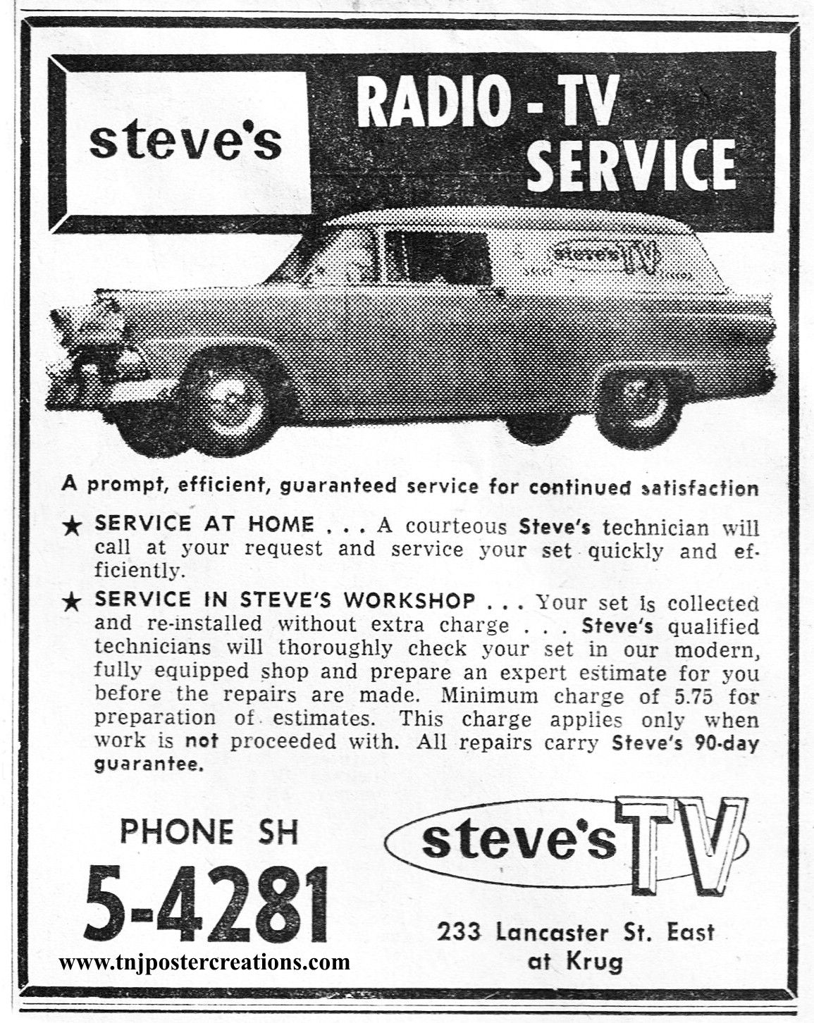 1960 advertising for Steve\'s TV on Lancaster St. East in Kitchener ...