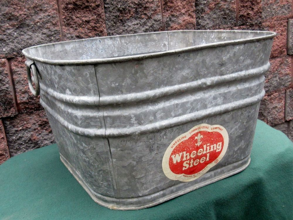 Vintage Wheeling Metal Galvanized Square Wash Tub Beer Bucket Garden Plant Beer Bucket Bucket Gardening Wash Tubs