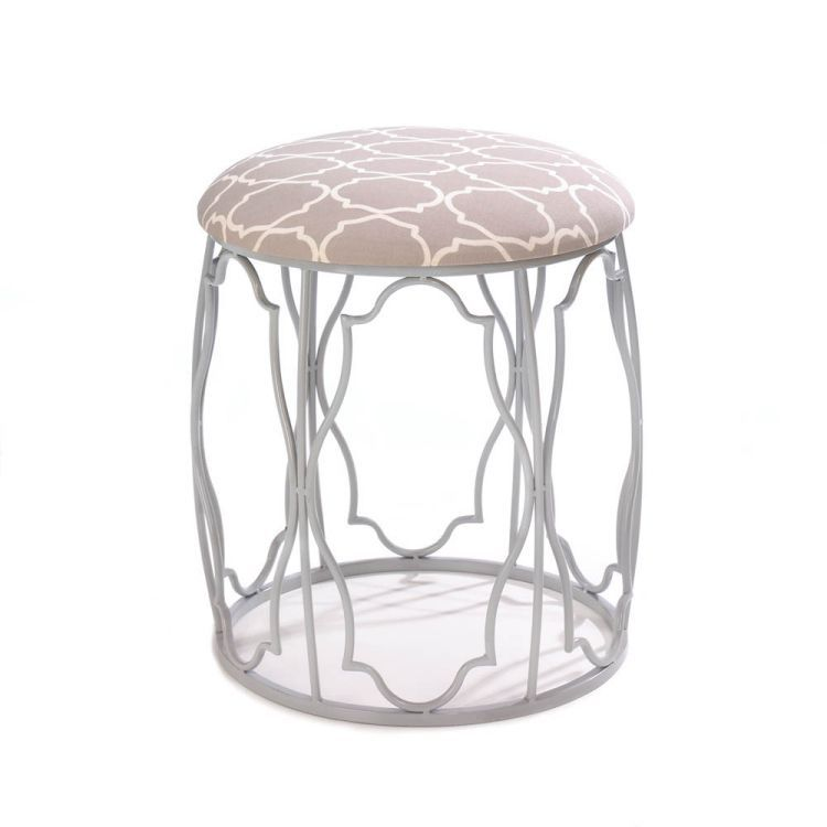 Moroccan Wish Stool | Your design wish has come true! This gorgeous Moroccan-inspired stool combines style with grace and cool with comfort to create a striking and functional room accent. The metal framework features exotic geometric patterns that mimic the pattern on the padded linen seat.