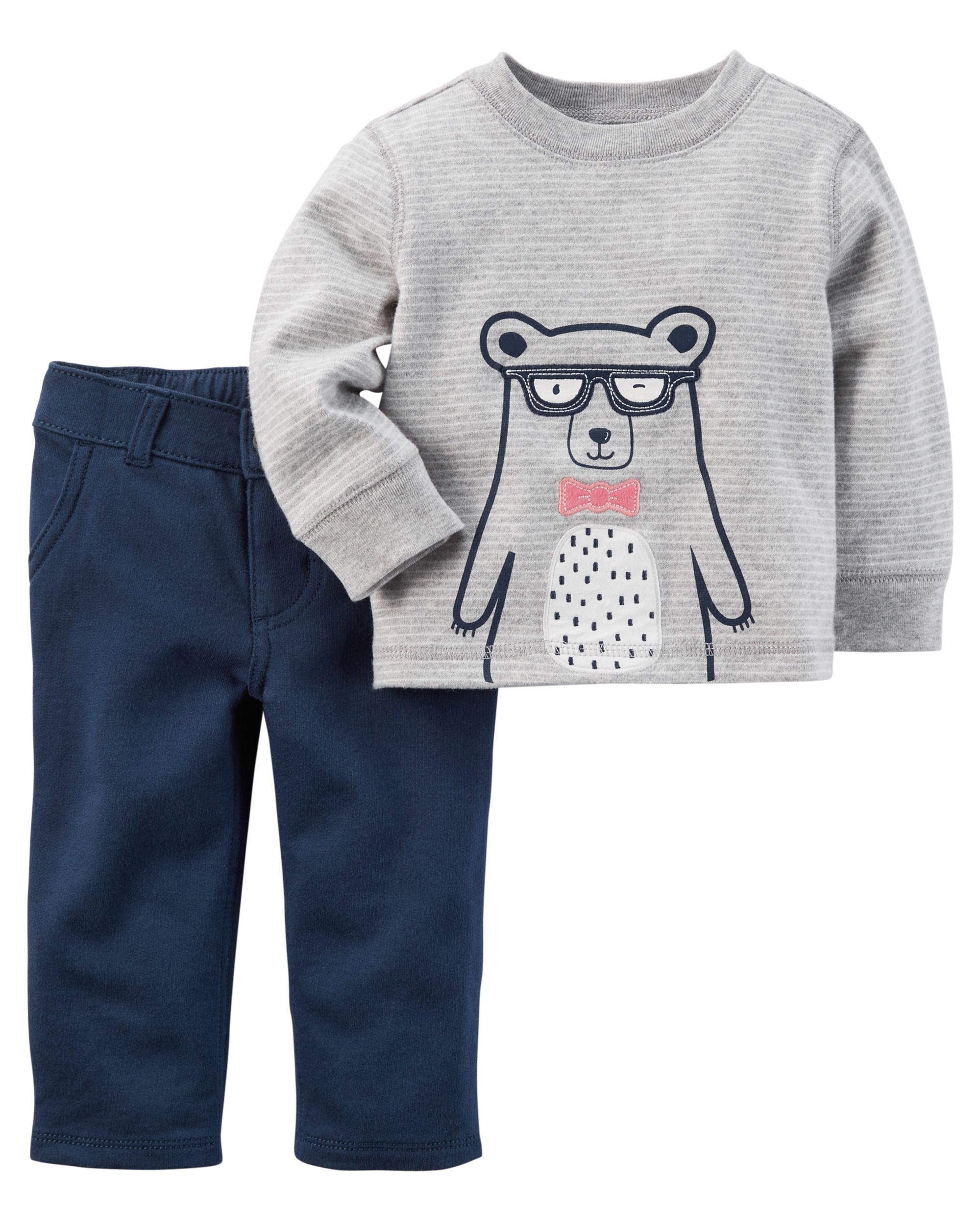 Your little cub will look extra cute in this boys  Carter s bear graphic  tee and French terry pants set. e06e6207d023