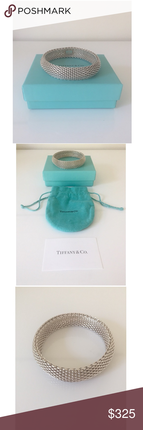 "5f99609fd TIFFANY & Co. Somerset 925 Silver 15mm Bangle 7.5"" Lovely Tiffany ..."