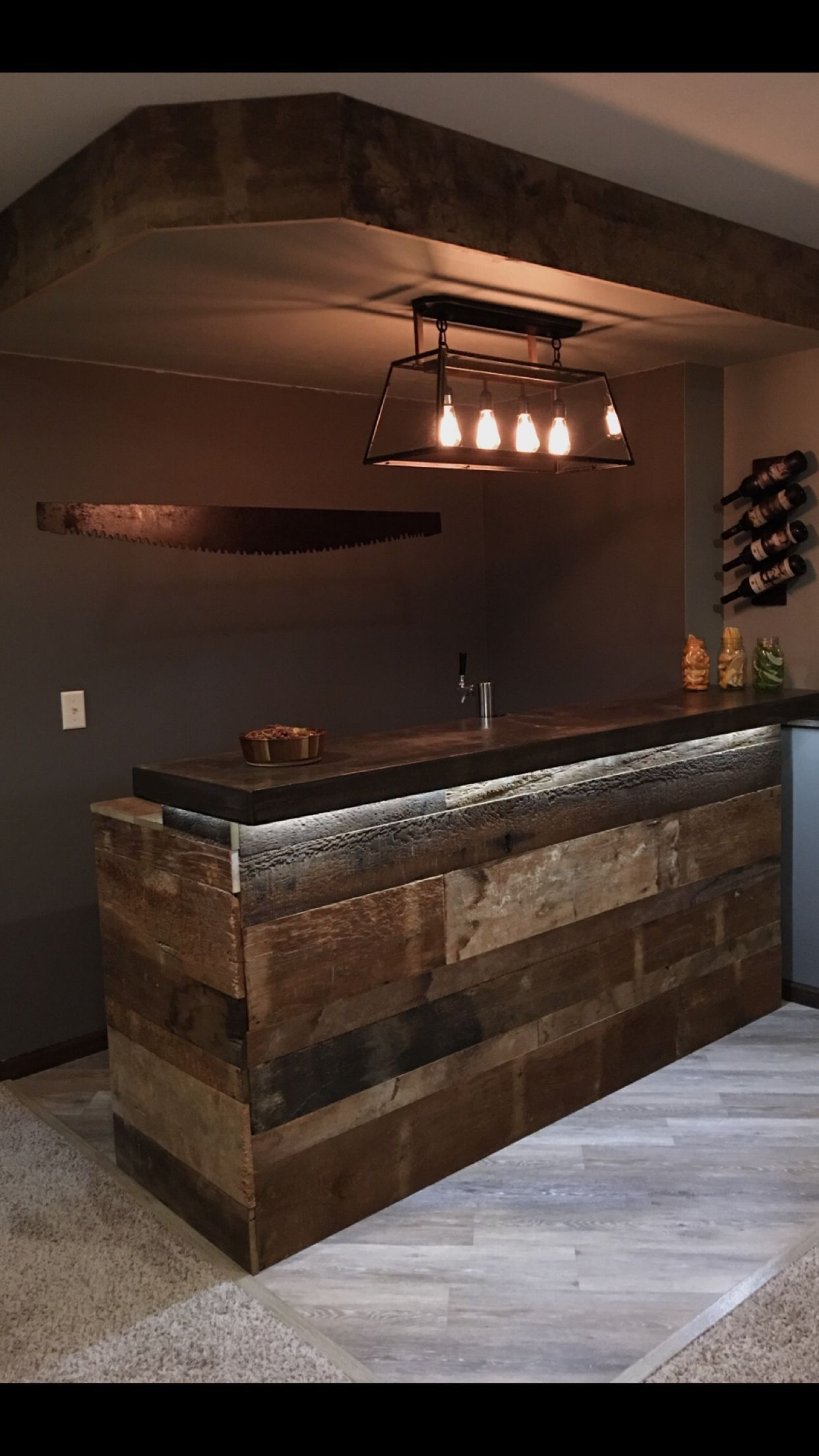 Lighting And Bar In 2020 Rustic Basement Bar Bars For Home