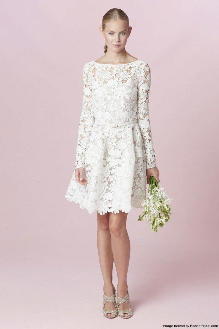 Oscar De La A Fall 2017 Short Wedding Dress With Long Sleeves