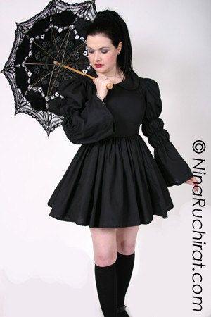 Gothic Lolita Black Dress Cosplay Flared Sleeves Full Skirt Peter