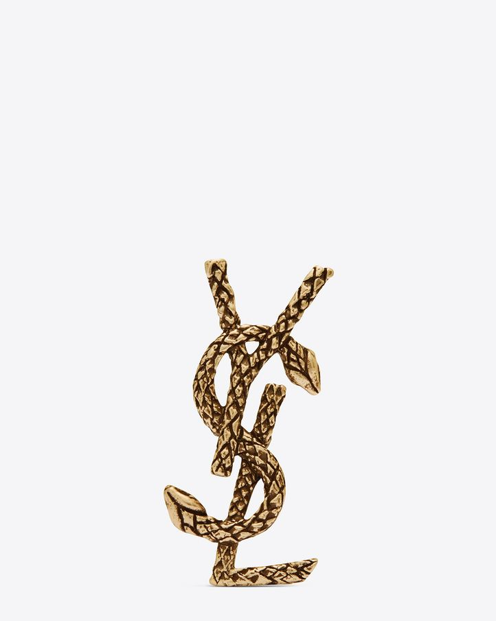 90892927001 saintlaurent, MONOGRAM Snake Brooch in Old Gold-Toned Brass ...