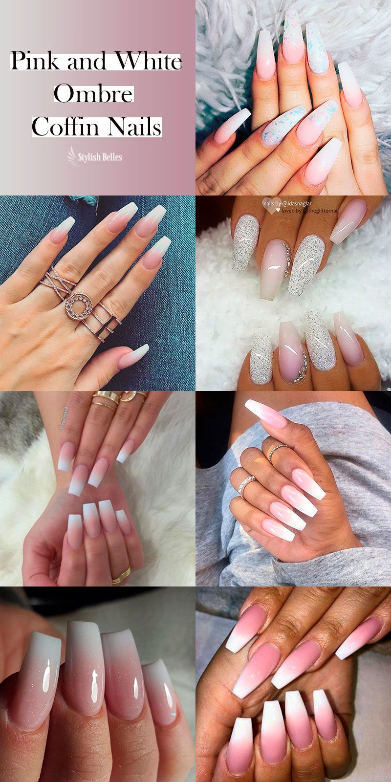 Pink And White Ombre Coffin Nails Ideas Coffinnails Ombrenails Pinkandwhitenails Ombre Nail Designs Pink Ombre Nails Shiny Nails Designs