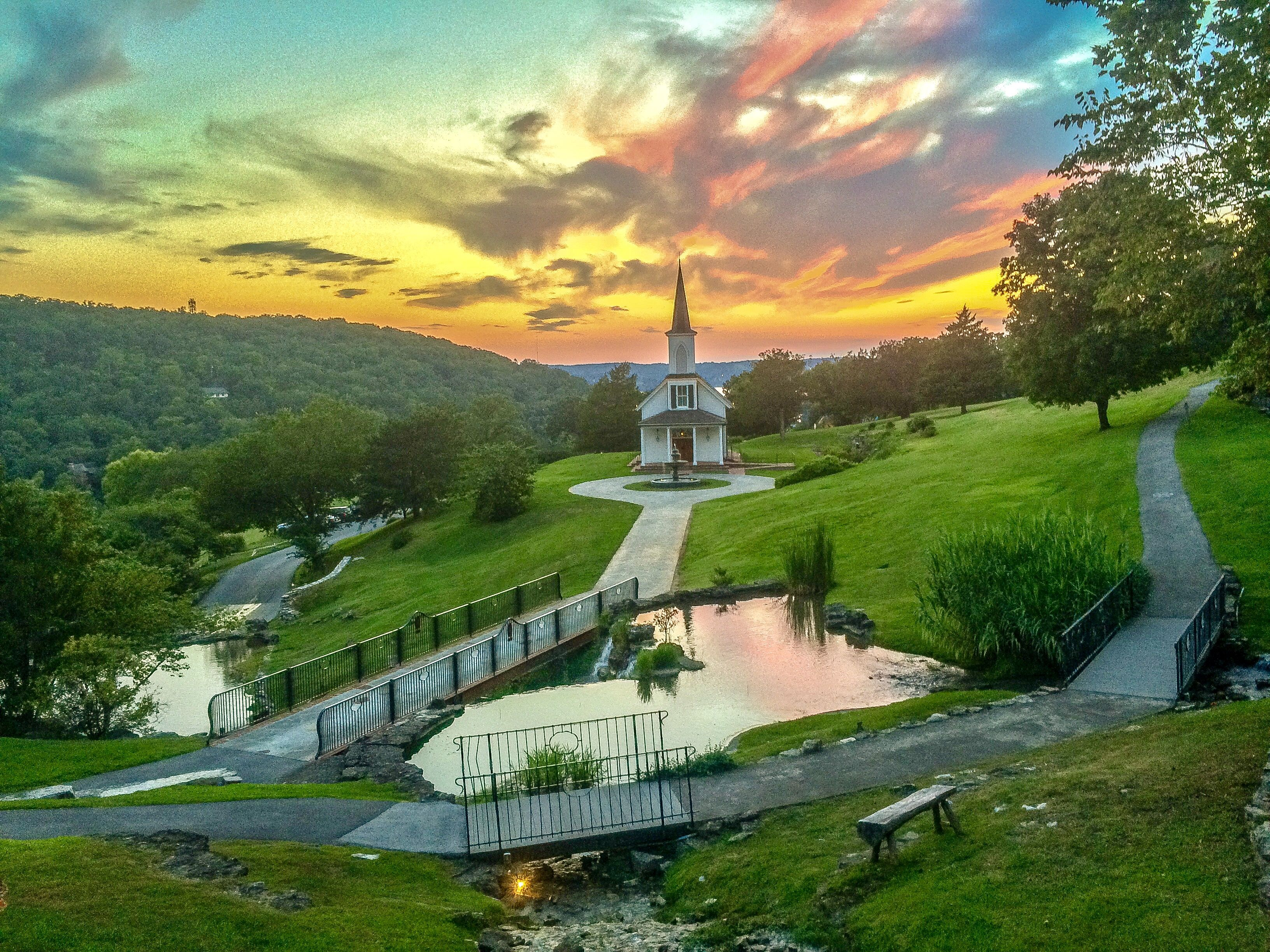 Sunset Behind The Garden Chapel At Big Cedar Lodge