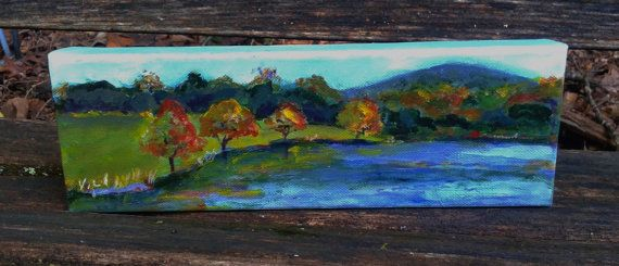 Lovely Mountain lake painting autumn scene original art 4x12 gallery wrap canvas nature lovers t by Shirley Lowe New - Review lake painting HD