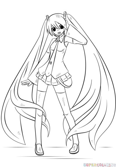 How to draw Hatsune Miku step by step. Drawing tutorials for kids ...