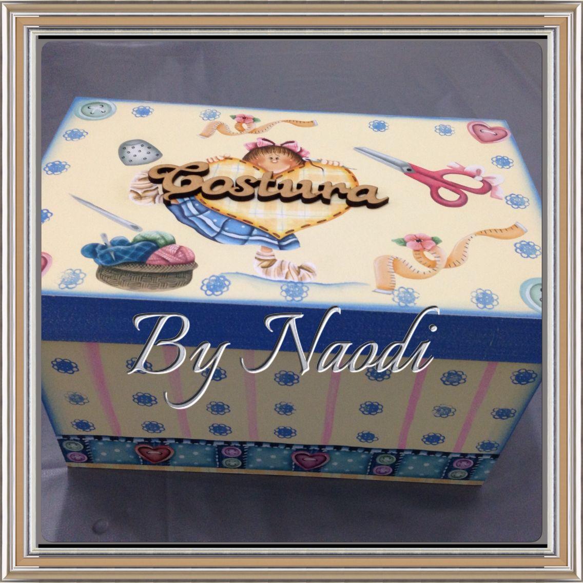 Caixa para costura com pintura decorativa e decoupagem