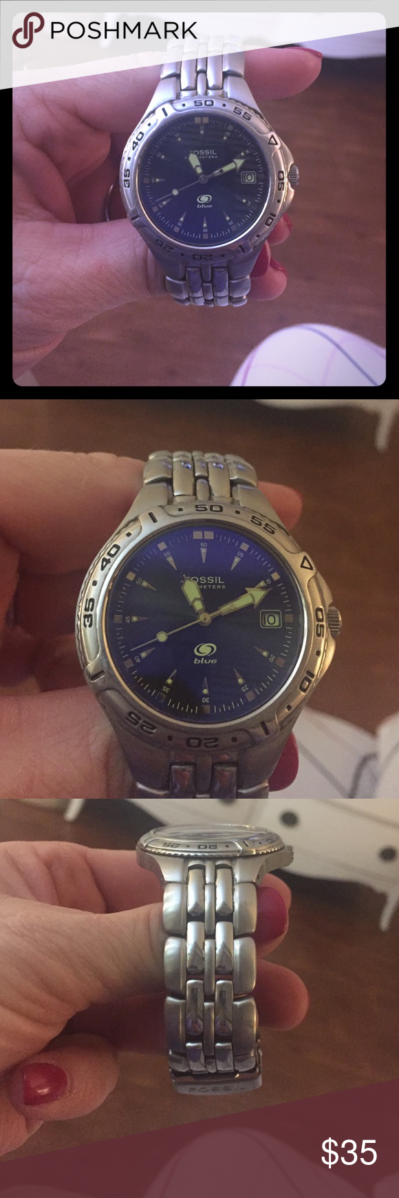 Men's Fossil Blue AM -3621 Watch 100 Meter Watch. This Beautiful Fossil blue watch is in great shop! It is silver with a beautiful blue face. It is very gently used!! Fossil Accessories Watches