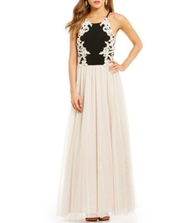 9dcaf302cfe Blondie Nites Embroidered-Bodice Color Block Ball Gown  Dillards ...