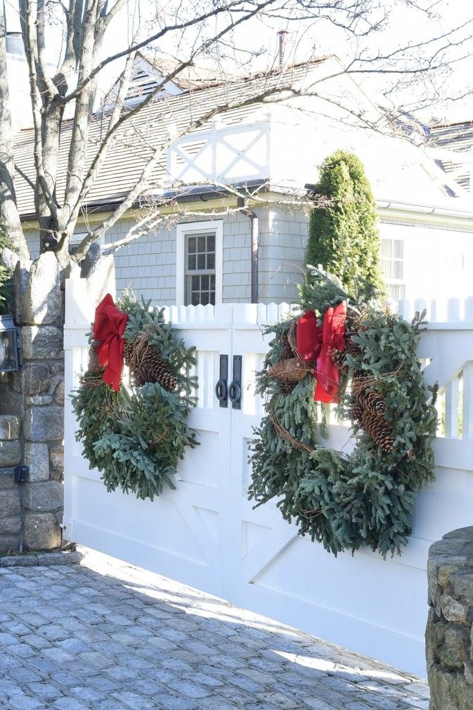 Favorite New England Homes - Nesting With Grace -   18 christmas decor outdoor fence ideas