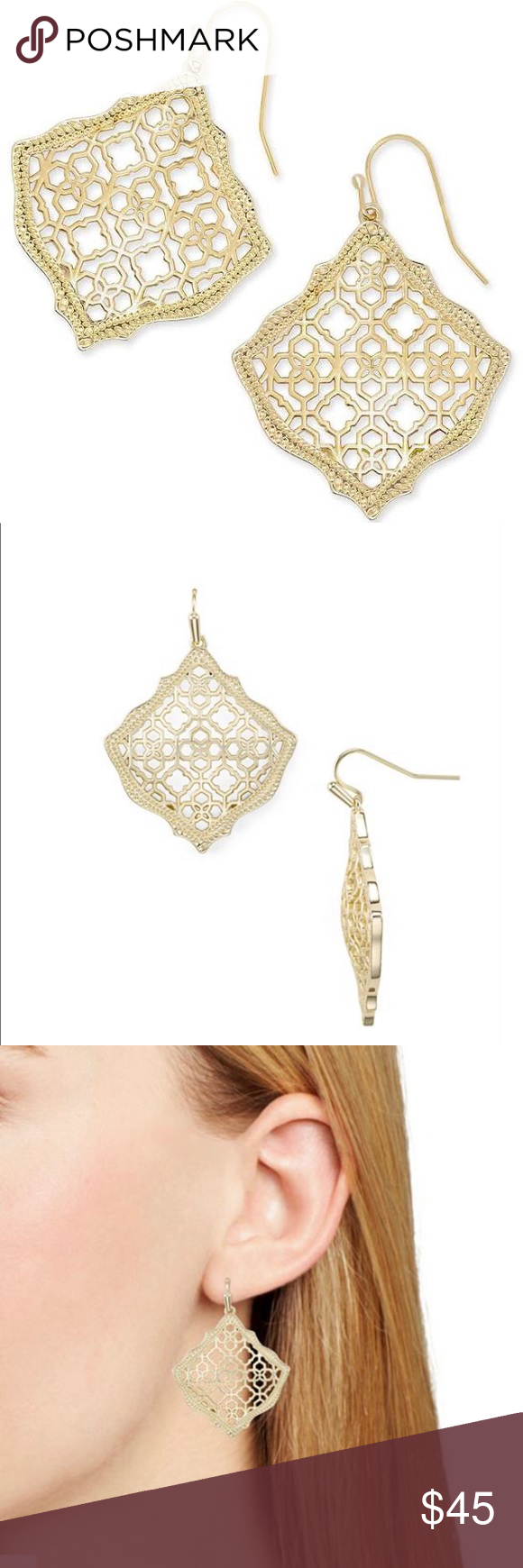 b262eac2eeb36f Kendra Scott Kirsten Drop Earrings in Filigree Brand new & factory sealed  in box! Authentic! Shade is Gold Filigree! With a gentle sloping  silhouette, ...