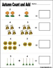 math worksheet : preschool and kindergarten fall math worksheets  learn play  : Addition Worksheet For Preschool