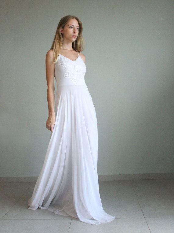 Boho Wedding Dress, White Wedding Dress, Tulle Wedding Dress, Lace ...