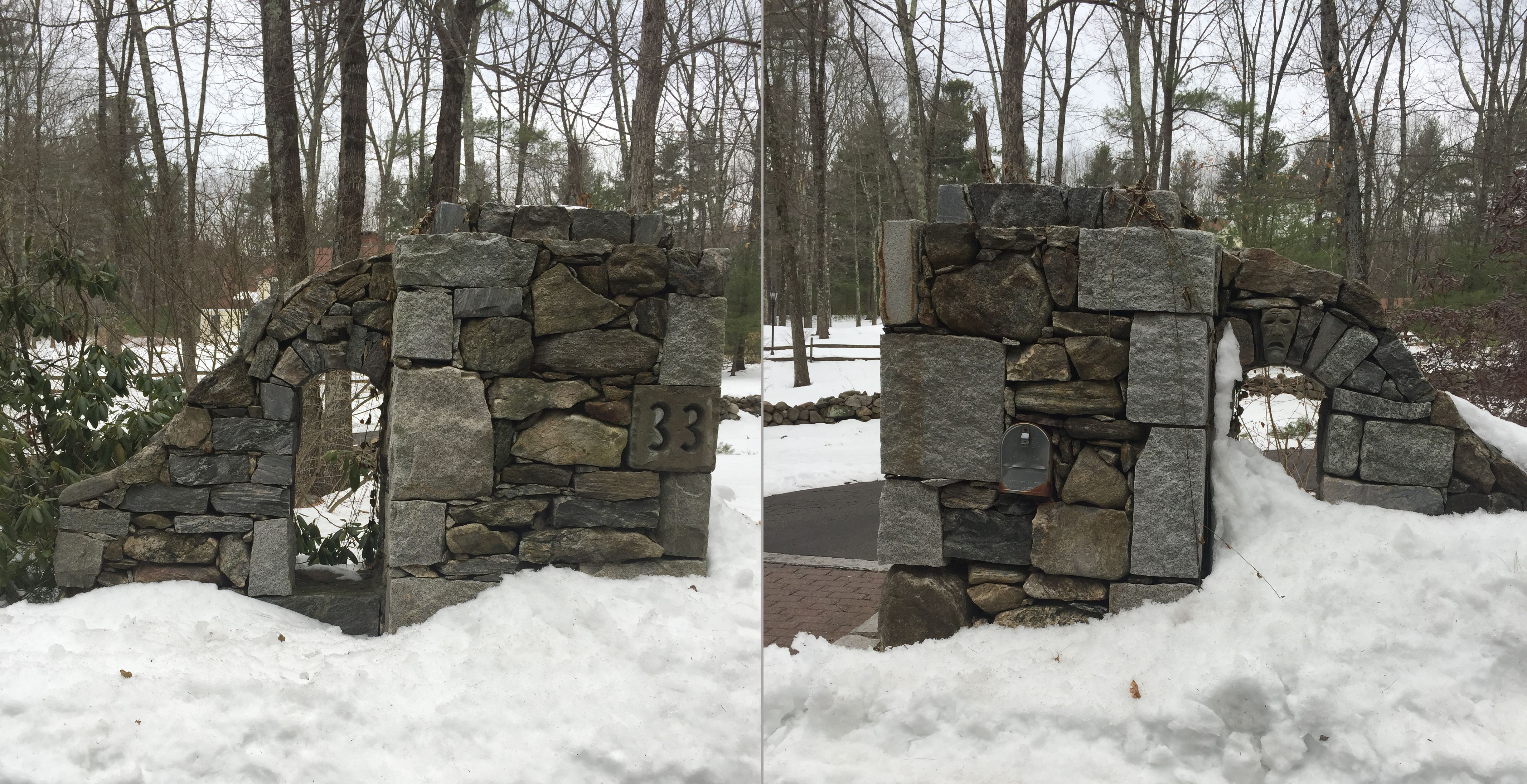 really cool idea for stone driveway pillars one for the mailbox and