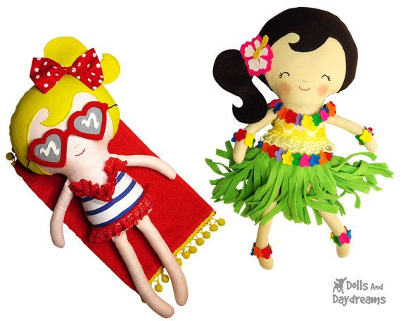 Hula Beach Girl Sewing Pattern Pdf Doll By Dollsanddaydreams Dolls And Daydreams Sewing Stuffed Animals Doll Sewing Patterns