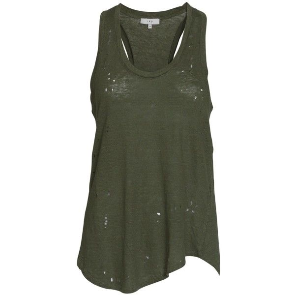 Iró Doris linen tank top ($58) ❤ liked on Polyvore featuring tops, shirts, tank tops, tanks, army, green shirt, racer back tank, army tank, army green tank top and loose tank