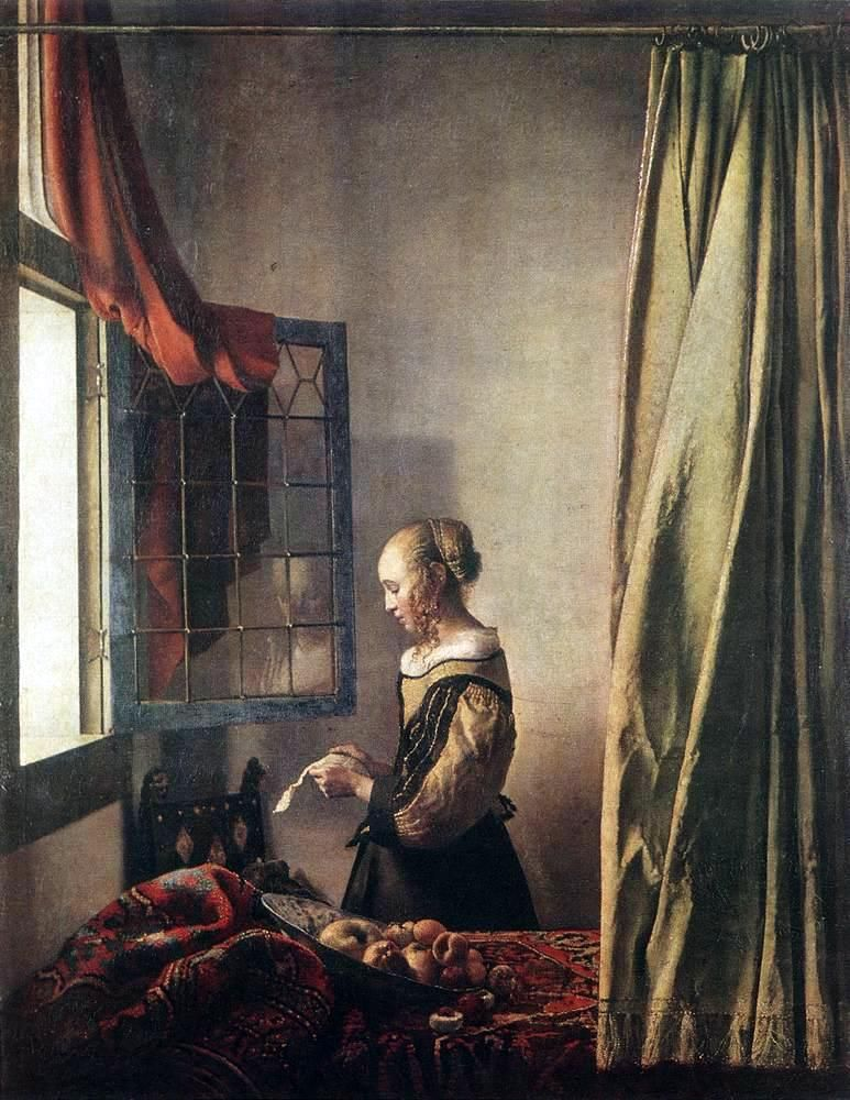 Jan Veermer 1657-El rostro de la mujer y parte de la cortina son acentuada por el juego de luces y la pared trasera que da la impresión de perspectiva. Así, el pintor hace que la escena real. La profundidad de campo es grande porque todo está claro. Esta tabla da una impresión de la soledad de la mujer, ella está poniendo fuera de su casa y se detiene de repente para leer esta carta