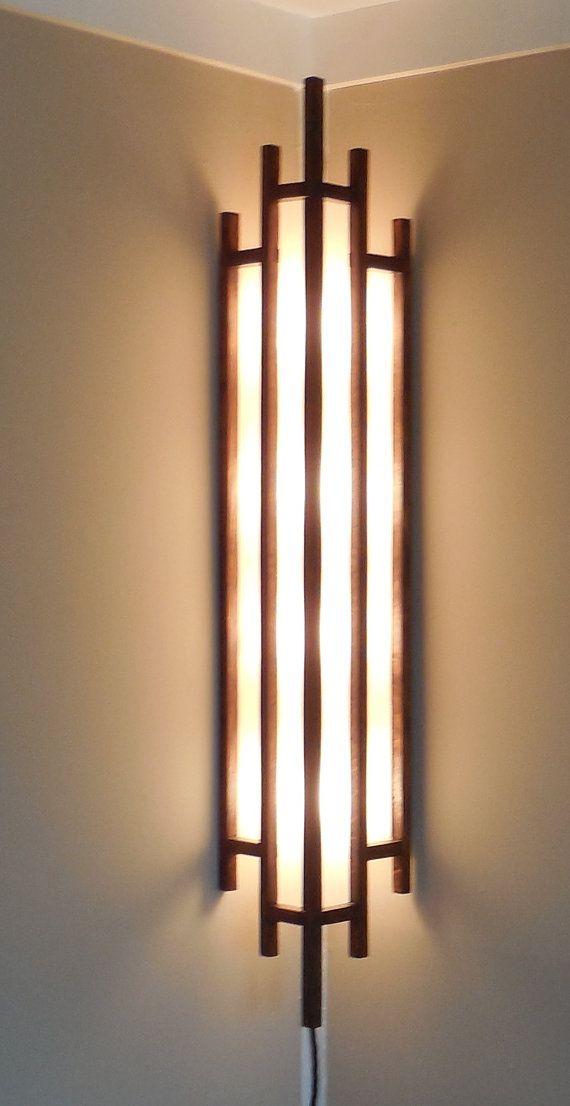 Art deco lamp solid oak corner lamp is an by crisplighting on etsy