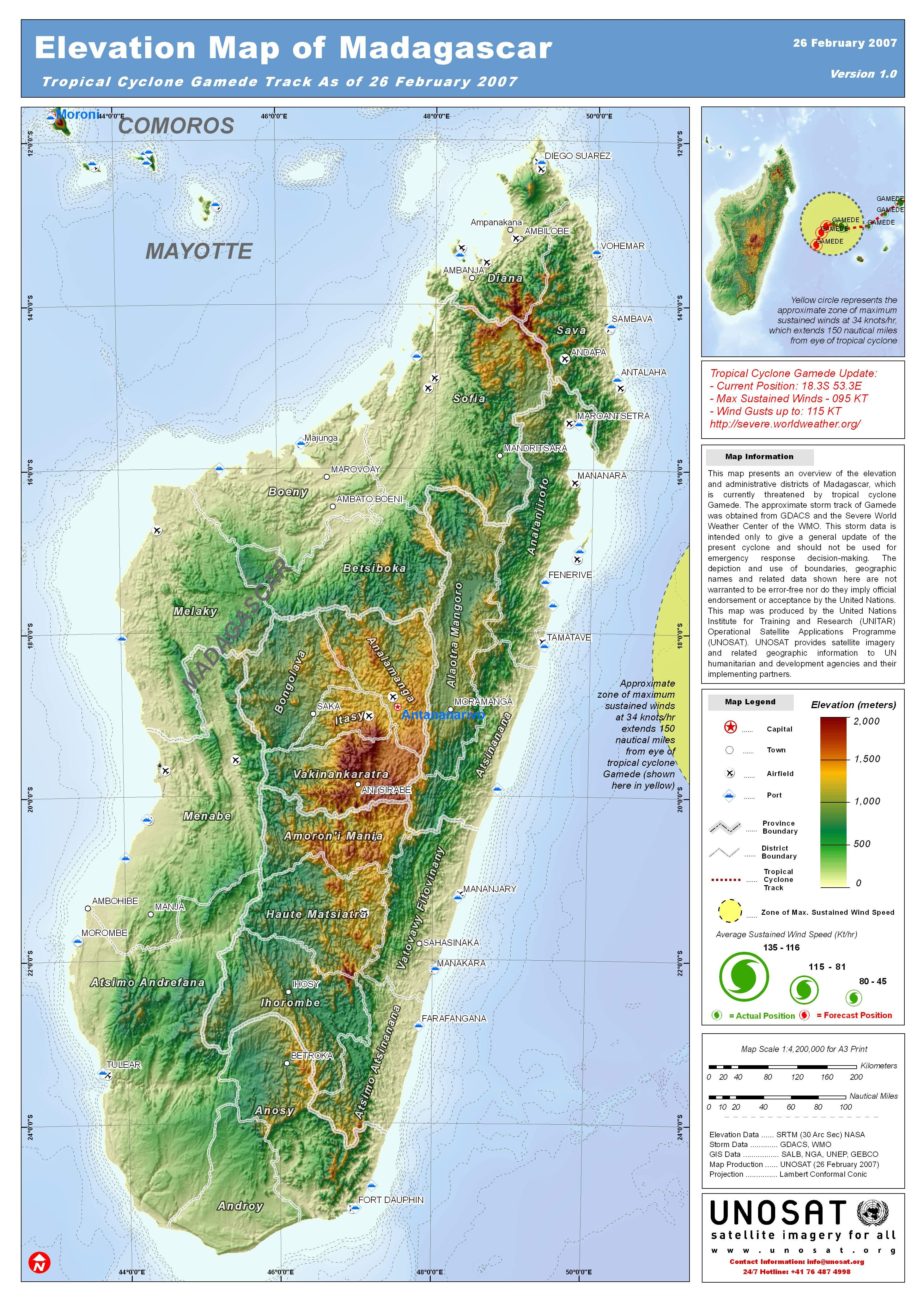 Madagascar topography by UNOSAT #map #madagascar #topography ...