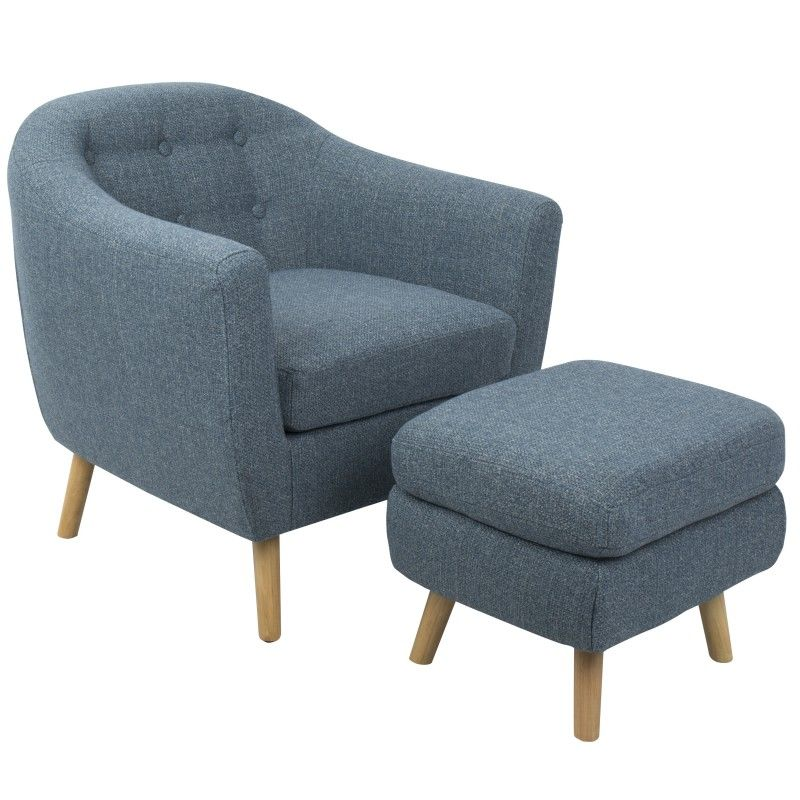 Rockwell Mid Century Modern Accent Chair And Ottoman In Blue Noise