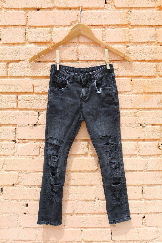 Kids Boys Zara Skinny Black Distressed Jeans For Sale At
