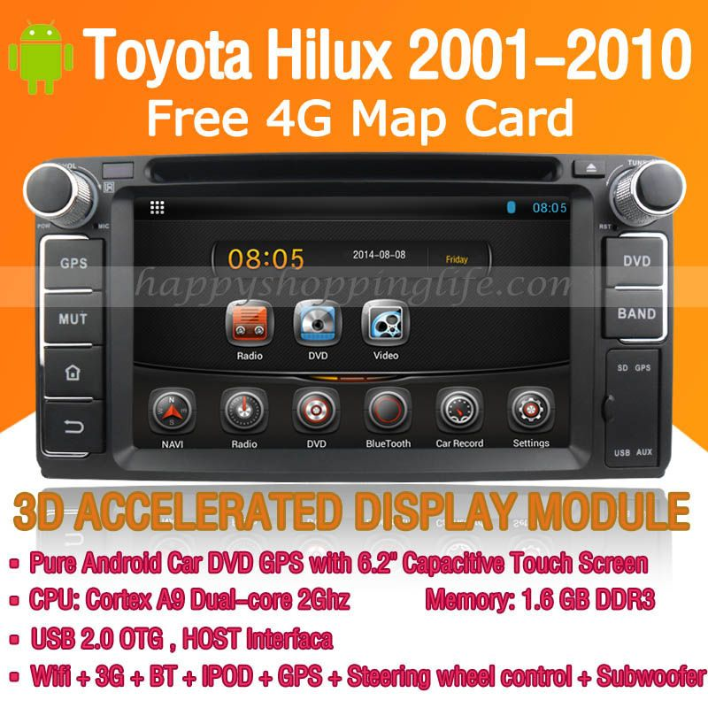 Android Car DVD Player GPS Navigation for Toyota Hilux