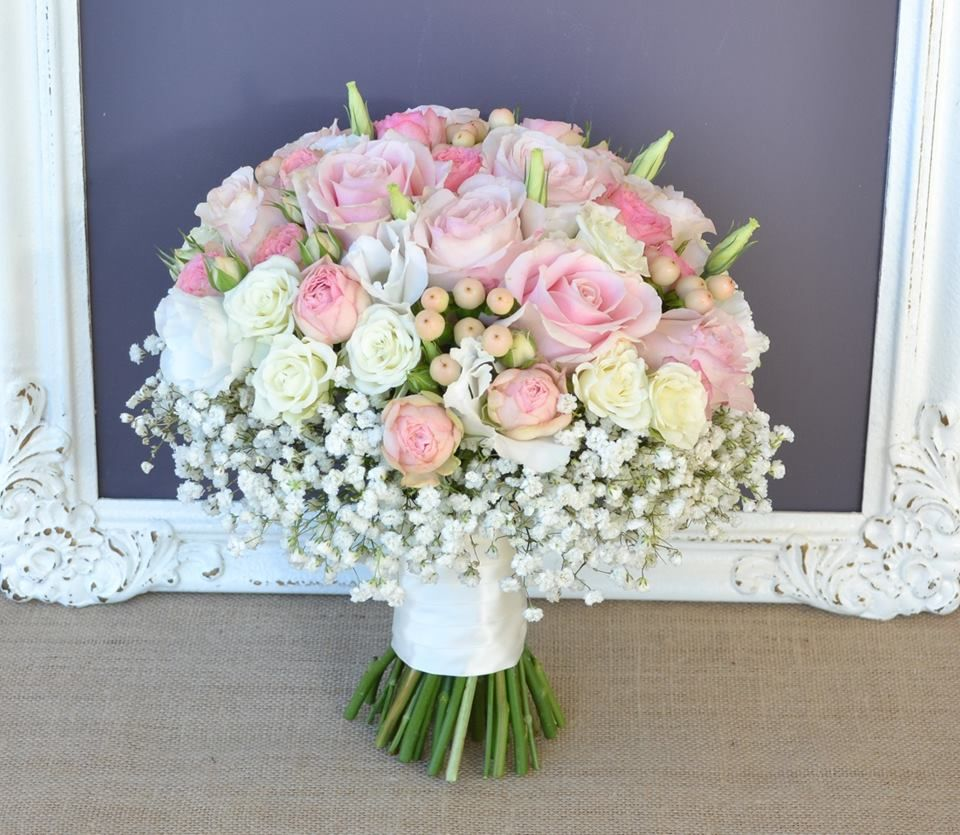 Divine Wedding Flowers: Divine Pink And Ivory Bouquet With A Pop Of Peach And A