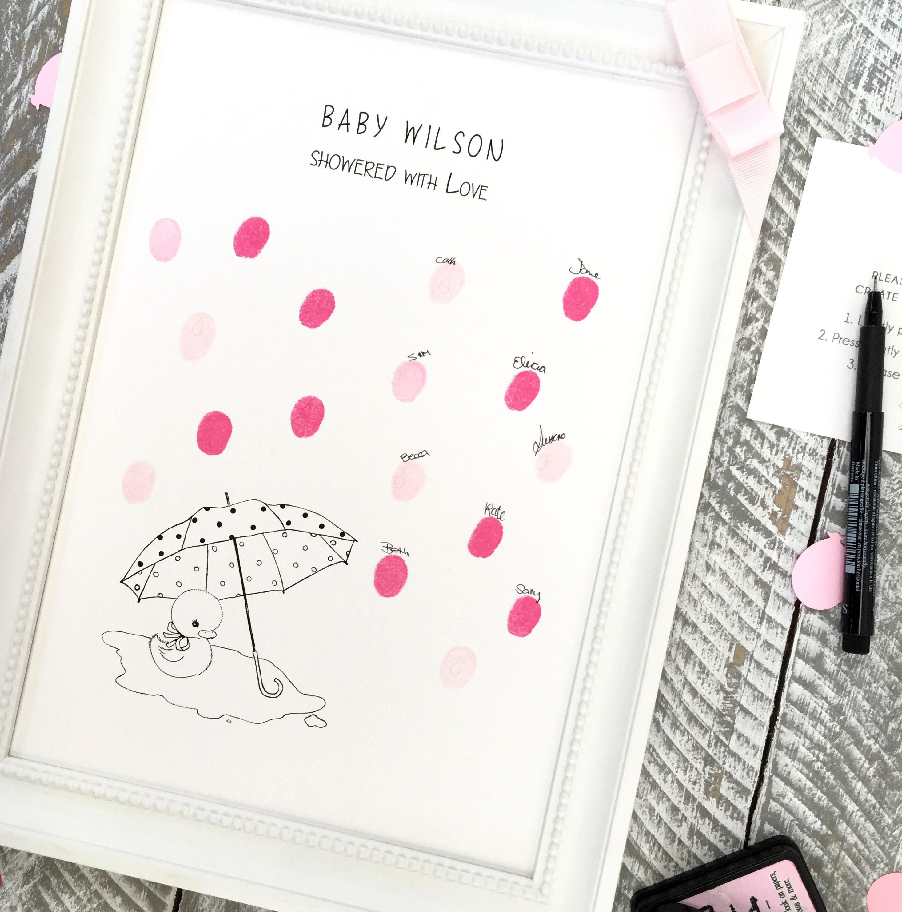 Baby Shower girl pinks Fingerprint guest book Baby Shower