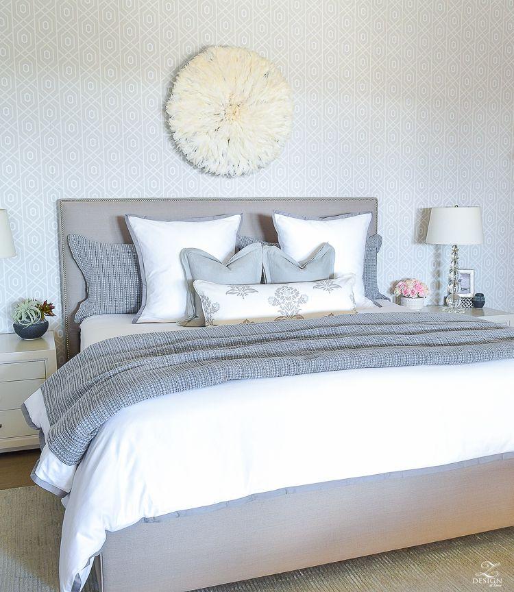 Luxury white and gray transitional bedroom spring decor in the bedroom pottery barn honey b bedding juju hat gray uholstered heaedboard 1 Beautiful - Elegant pottery barn bedroom ideas Plan