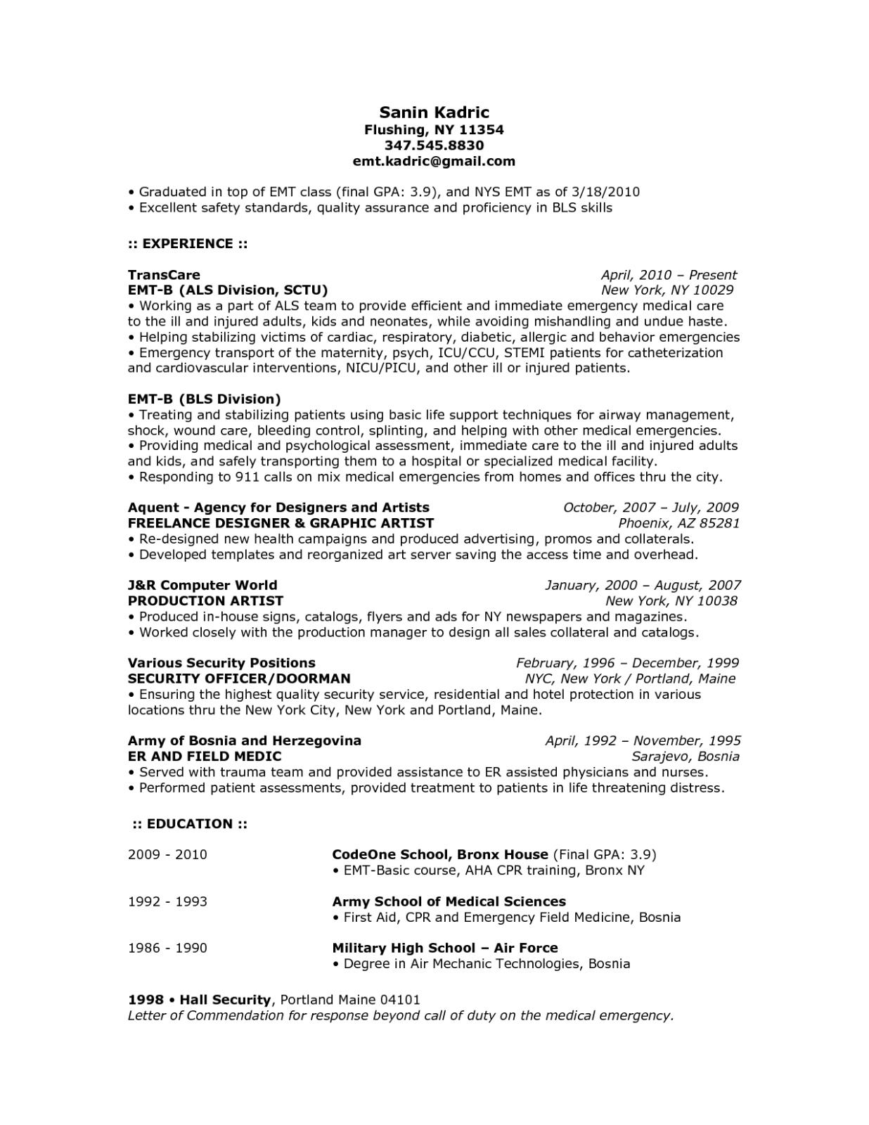 13 emergency medical technician basic resume