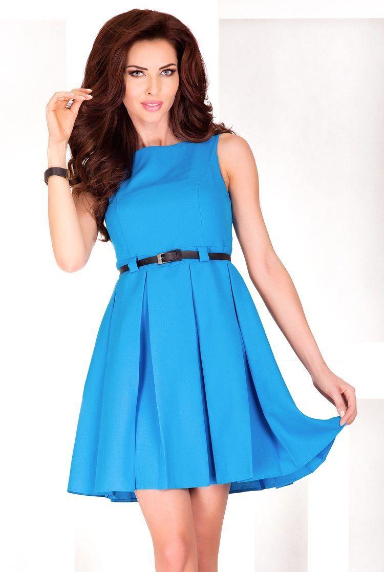Numoco Blaues Kleid mit Gürtel. Schönes Kleid in Blau mit schwarzem ...