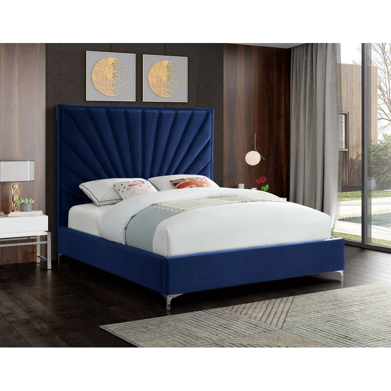 Manila Upholstered Low Profile Platform Bed In 2021 Upholstered Beds Velvet Bed Frame Tufted Headboard Bedroom