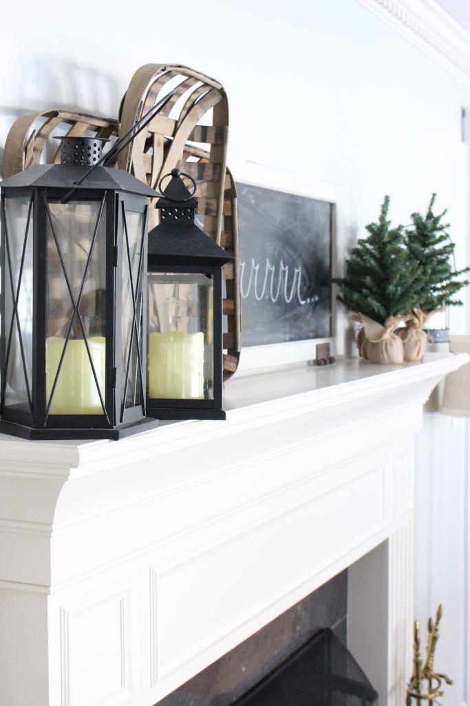 Cozy Peaceful Winter Mantel- mantel decor- room design- rustic