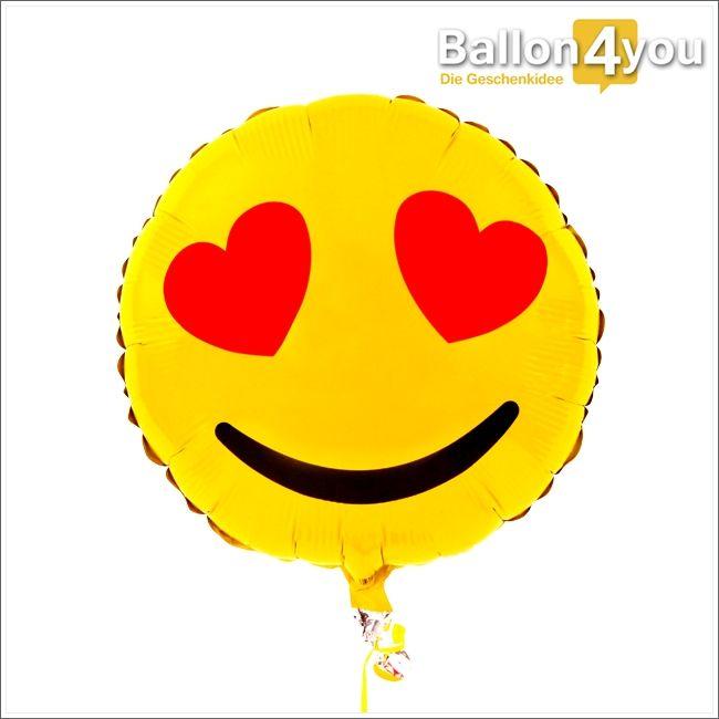 Smiley Ballon mit Herzaugen Gut gelaunt und frisch verliebt