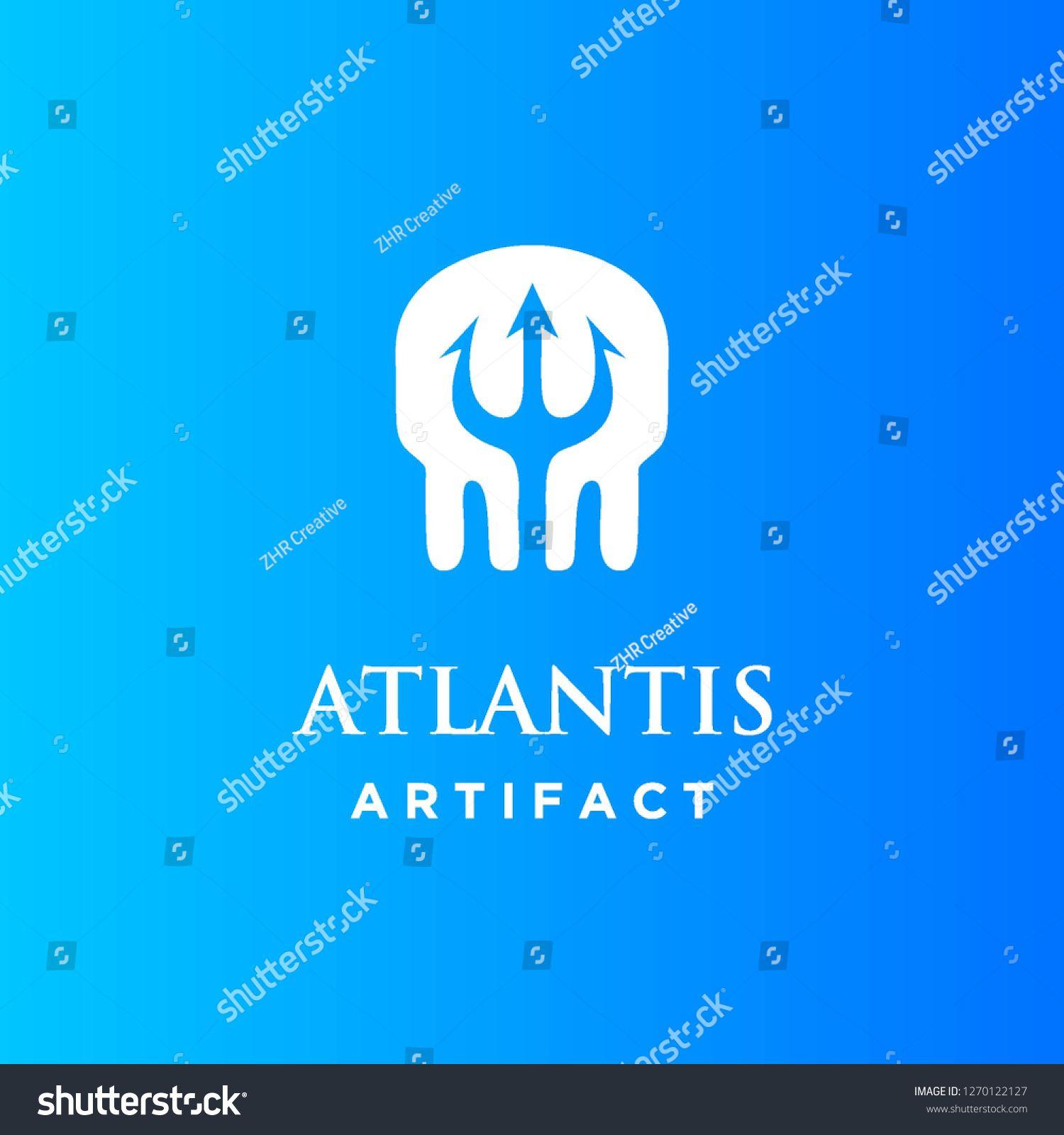 skull head bone skeleton and trident atlantis logo icon vector