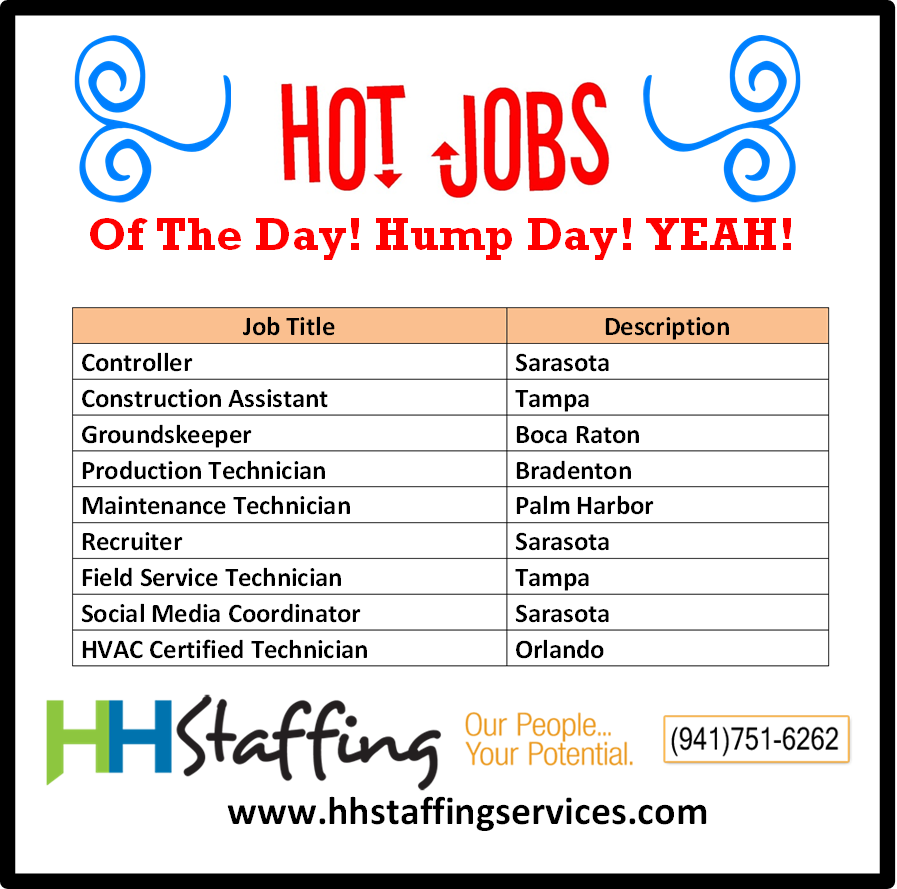 It S Hump Day Yeah Please Take A Look At Our Hot Jobs Of