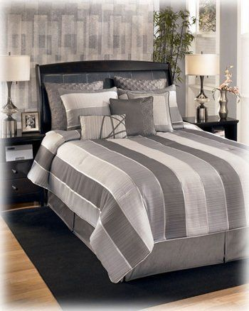 10 Piece King Silver Modern Bedding Set By Famous Brand Furniture 205 11 3 Decorative Accent Pillows 1 Bed Skirt 2 Pillow Shams Euro